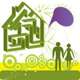 Family in dream house Royalty Free Stock Images