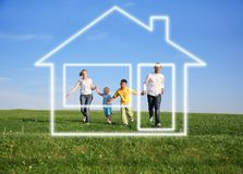 Family with dream house Royalty Free Stock Images