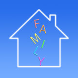 Family. In dream house with blue background royalty free stock photos