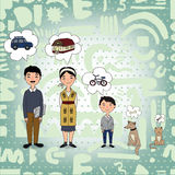 Family dreaming. About car, house etc Royalty Free Stock Photos