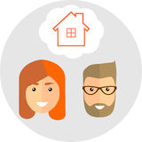 Family of dreams about the house. Flat Style. Fashionable man wi. Th beard and mustache,� hipster and beautiful  redhead woman with glasses planning for the Stock Photos