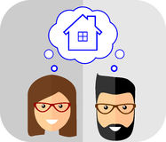 Family of dreams about the house. Flat Style. Fashionable man wi. Th beard and mustache Royalty Free Stock Photography