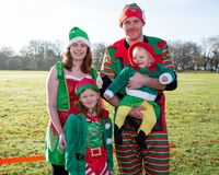 Family dressed in elf costumes Stock Image