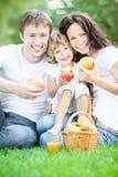 Family drinking apple juice Royalty Free Stock Photos