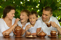 Family drinking tea in  garden Royalty Free Stock Image