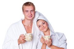 Family drinking tea in the morning Royalty Free Stock Photo