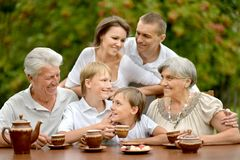 Family drinking tea outdoors Stock Photography