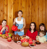 Family  drinking tea with russian  snack Royalty Free Stock Photo