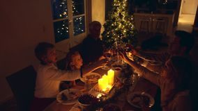 Family drinking wine on thanksgiving dinner at home. Happy family toasting drinks during christmas dinner at home in the living room. Family drinking wine on stock footage