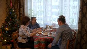 Meeting of elderly parents and children stock footage