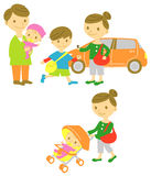 Family drive,take a walk,baby. Buggy Stock Images
