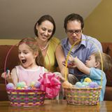 Family at Easter. Royalty Free Stock Photos