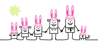 Family & Easter. Vector hand-drawn characters line Royalty Free Stock Images