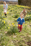 Family On Easter Egg Hunt In Daffodil Field Royalty Free Stock Images