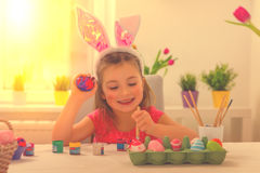 Family easter at home Stock Photography