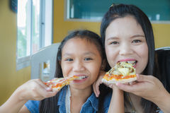 Family eat pizza Stock Image
