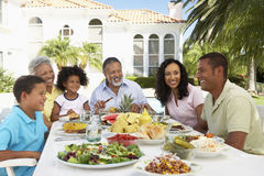 Family Eating An Al Fresco Meal Stock Photography