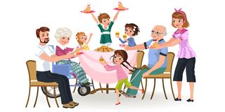 Family eating dinner at home, happy people eat food together, mom and dad treat grandfather sitting by dining table. Girl takes care of old grandmother vector illustration