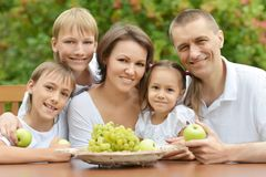 Family eating fruits outdoors Royalty Free Stock Photos