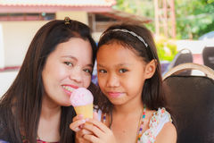 Family eating Ice Cream Stock Images
