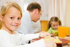 Family eating lunch or dinner Royalty Free Stock Photography