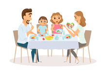 Family eating meal. Around kitchen table. Happy daddy, mom and their two kids sitting eating healthy lunch in home or restaurant. Diner parents and children royalty free illustration