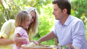 Family Eating Meal Outdoors stock video