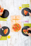 Family eating Pizza Royalty Free Stock Photography