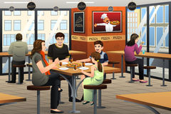 Family Eating Pizza. A vector illustration of happy family eating pizza together Stock Images