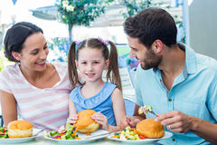 A family eating at the restaurant Royalty Free Stock Photo