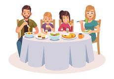 Family eating table. Happy people eat food dinner parents kids father mother daughter drink lunch talking illustration. Family eating table. Happy people eat stock illustration