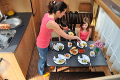 Family travel in caravan Stock Images
