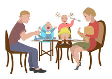Family eats in a restaurant Royalty Free Stock Images