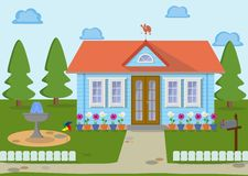 Family eco house on the nature with green lawn, trees fountain and flowers. Vector illustration. Countryside family wooden eco house on the nature with weather Royalty Free Stock Photo