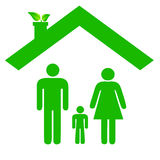 Family in ecologic house Stock Photo