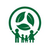 Family ecology concept.Green cities help the world with eco-frie. Ndly.vector illustration Royalty Free Illustration