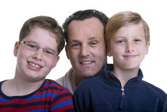 Family Education. A father with his two boys. Growing up, childhood, parenting, learning Stock Photography