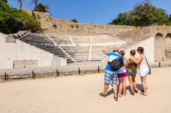 Family education about ancient history Royalty Free Stock Image