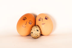 Family eggs. father mother and child. Royalty Free Stock Image