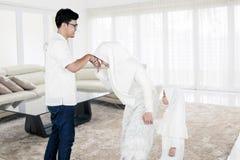 Family Eid al-fitr celebration at home
