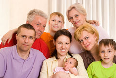 Family of eight people Royalty Free Stock Photo