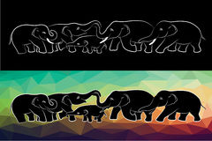 Family elephant of wildlife line and low poly vector design Royalty Free Stock Photos