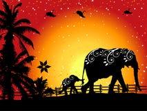 Family of elephants on nature walk Royalty Free Stock Photo