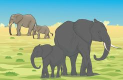 Family Elephants Walks royalty free illustration