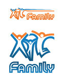 Family Emblem. A family emblem (two variants of compositions): three symbolic graphic figures of woman, child and man, jumping up together in a different manner vector illustration