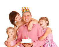 Family embracing father Royalty Free Stock Image