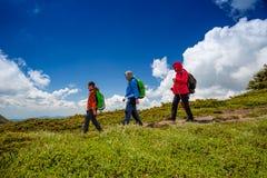 Family enjoy hiking stock images