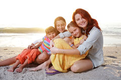 Family enjoy summer day at the beach. Stock Photography