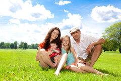Family enjoy summer day outside. Stock Photos