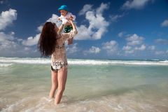 Family enjoy summer vacation in Mexico. Royalty Free Stock Photography